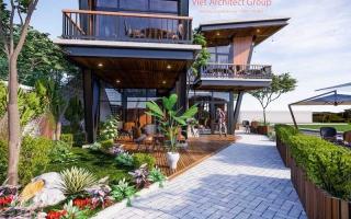 Thiết kế quán cafe hiện đại 2 tầng