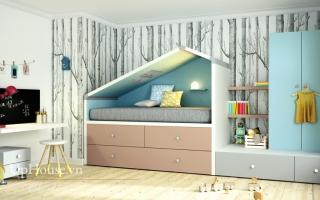 mẫu giường tầng gỗ đẹp U15