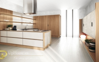Mẫu tủ kệ bếp gỗ đẹp U39