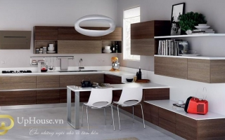 Mẫu tủ kệ bếp gỗ đẹp U11