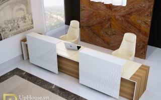 Mẫu bàn quầy lễ tân gỗ đẹp U45
