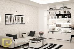 Phòng khách sang trọng với tone màu đen trắng